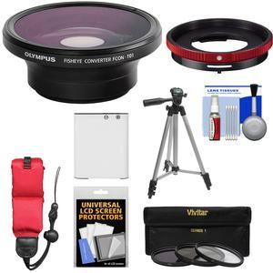 Olympus FCON-T01 Fisheye Converter Lens and CLA-T01 Adapter Ring Pack for Tough TG-3 TG-4 and TG-5 Camera with Li-90B Battery + Tripod + 3 Filters Kit