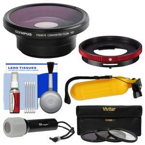 Olympus FCON-T01 Fisheye Converter Lens and CLA-T01 Adapter Ring Pack with 3 UV-CPL-ND8 Filters + LED Torch + Buoy Handle + Kit
