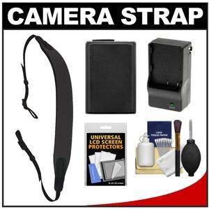 Op-Tech USA E-Z Comfort Neoprene Camera Strap - Black - with NP-FW50 Battery for Sony Alpha NEX-C3 NEX-3N NEX-5 NEX-5N NEX-5R NEX-6 NEX-7