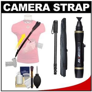 Op/Tech USA Neoprene Utility Camera Strap-Sling (Black) with Monopod + Lenspen + Cleaning Kit