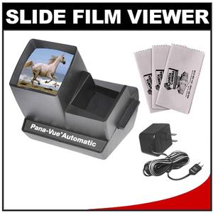 Pana-Vue Automatic Lighted 2x2 Slide Viewer for 35mm with AC Adapter + - 3 - Microfiber Cleaning Cloths