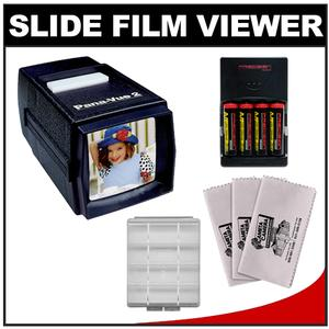 Pana-Vue 2 Lighted 2x2 Slide Film Viewer with - 4 - AA Batteries and Charger + - 3 - Microfiber Cleanig Cloths