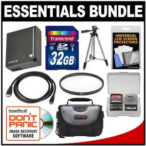 Essentials Bundle for Panasonic DMC-GF6 DMC-GX7 and DMC-GX85 Digital Cameras with 32GB Card + Case + DMW-BLG10 Battery + Tripod + HDMI Cable + Kit