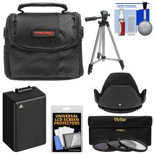 Essentials Bundle for Panasonic Lumix DC-FZ80 with Case + 3 UV-CPL-ND8 Filters + Hood + DMW-BMB9 Battery + Tripod + Kit