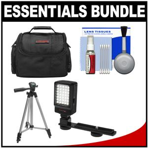 Essentials Bundle for Panasonic HC-W580K WXF991K V180K V380K V770K VX870K VX981K with Case + LED Light + Tripod + Cleaning Kit