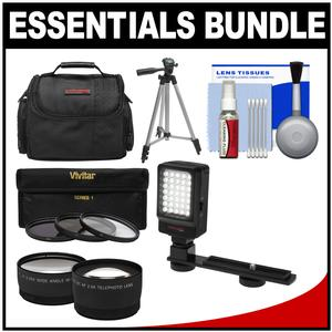 Essentials Bundle for Panasonic HC-W870K WXF991K V770K VX981K X920 Camcorder with Case + LED Light + 3 UV-CPL-ND8 Filters + Tele-Wide Lenses Kit + Cleaning Kit
