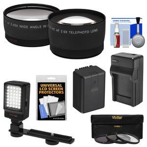 Essentials Bundle for Panasonic V770 VX870 VX981 WX970 and WXF991 Camcorder with Telephoto and Wide-Angle Lenses + 3 UV-CPL-ND8 Filters + Battery + Charger + LED + Kit
