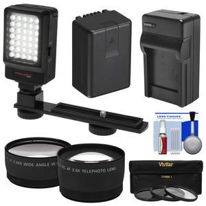 Essentials Bundle for Panasonic V770 VX870 VX981 WX970 and WXF991 Camcorder with LED Video Light + Tele and Wide Lenses + 3 UV-CPL-ND8 Filters + Battery + Charger + Kit