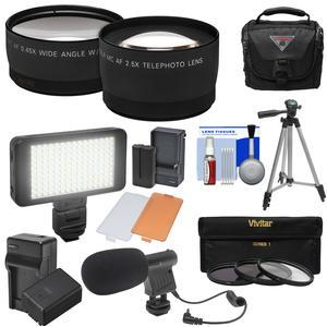 Essentials Bundle for Panasonic V770 VX870 VX981 WX970 and WXF991 Camcorder with Tele-Wide Lenses + LED + Mic + Battery + Charger + Case + Tripod + 3 Filters + Kit