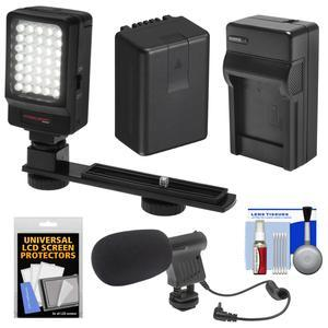 Essentials Bundle for Panasonic V770 VX870 VX981 WX970 and WXF991 Camcorder with LED Video Light + Microphone + Battery + Charger + Kit