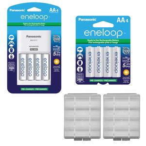 Panasonic eneloop (8) AA 2000mAh Pre-Charged NiMH Rechargeable Batteries & Charger with 2 Precision Design AA Battery Cases
