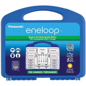 Panasonic eneloop Power Pack Set with 8 AA 2 AAA Rechargeable Batteries Charger and Case also includes 2 C-Spacers 2 D-Spacers and 1 Four-Position Charger