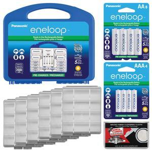 Panasonic eneloop Power Pack Set with 8 AA 2 AAA Rechargeable Batteries Charger and Case + - 8 - Extra AA Batteries + - 4 - Extra AAA Batteries + - 6 - Battery Cases + Kit