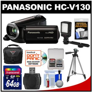 Panasonic HC-V130K Video Camera Camcorder with 64GB Card + LED Video Light + Case + Tripod + Accessory Kit