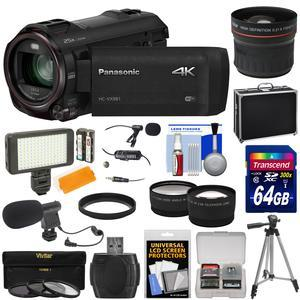Panasonic HC-VX981 Wi-Fi 4K Ultra HD Video Camera Camcorder with 64GB + Case + Tripod + LED Light + 2 Mics + Filters + Fisheye Tele\/Wide Lenses Kit