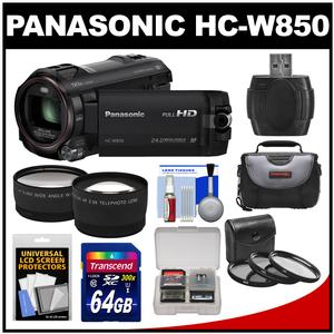 Panasonic HC-W850K Twin Recording HD Wi-Fi Video Camera Camcorder with 64GB Card + Case + 3 Filters + 2 Tele/Wide Lens Kit