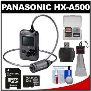 Panasonic HX-A500H 4K HD 25p POV Wearable Waterproof Video Camera Camcorder (Gray) with 32GB Card + Kit