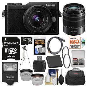 Panasonic Lumix DC-GX850 4K Wi-Fi Digital Camera and 12-32mm Lens-Black-with 45-150mm Lens and 64GB Card and Case and Flash and Battery and Tripod and Tele-Wide Lens Kit