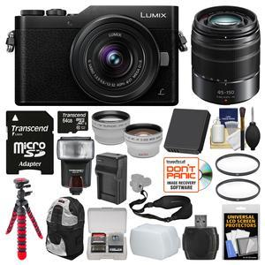 Panasonic Lumix DC-GX850 4K Wi-Fi Digital Camera and 12-32mm Lens-Black-with 45-150mm Lens and 64GB Card and Case and Flash and Battery and Charger and Tripod and Kit