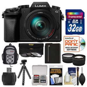 Panasonic Lumix DMC-G7 4K Wi-Fi Digital Camera and 14-140mm Lens with 32GB Card and Backpack and Battery and Flex Tripod and Filters and Tele-Wide Lens Kit