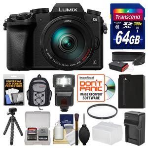 Panasonic Lumix DMC-G7 4K Wi-Fi Digital Camera and 14-140mm Lens with 64GB Card and Backpack and Flash and Battery and Charger and Flex Tripod and Filter and Strap and Kit