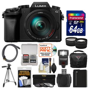 Panasonic Lumix DMC-G7 4K Wi-Fi Digital Camera and 14-140mm Lens with 64GB Card and Case and Flash and Battery and Tripod and Tele-Wide Lens Kit