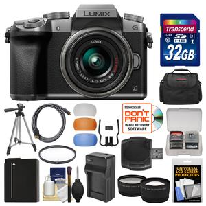 Panasonic Lumix DMC-G7 4K Wi-Fi Digital Camera and 14-42mm Lens-Silver-with 32GB Card and Case and Battery and Charger and Tripod and Tele-Wide Lenses Kit
