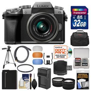 Panasonic Lumix DMC-G7 4K Wi-Fi Digital Camera & 14-42mm Lens (Silver) with 32GB Card + Case + Battery & Charger + Tripod + Tele\/Wide Lenses Kit