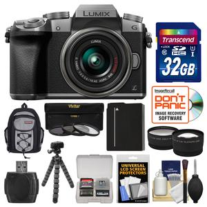 Panasonic Lumix DMC-G7 4K Wi-Fi Digital Camera and 14-42mm Lens-Silver-with 32GB Card and Backpack and Battery and Flex Tripod and Filters and Tele-Wide Lens Kit