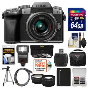 Panasonic Lumix DMC-G7 4K Wi-Fi Digital Camera and 14-42mm Lens-Silver-with 64GB Card and Case and Flash and Battery and Tripod and Tele-Wide Lens Kit