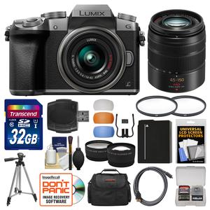 Panasonic Lumix DMC-G7 4K Wi-Fi Digital Camera and 14-42mm Lens-Silver-with 45-150mm Lens and 32GB Card and Case and Battery and Tripod and Tele-Wide Lens Kit