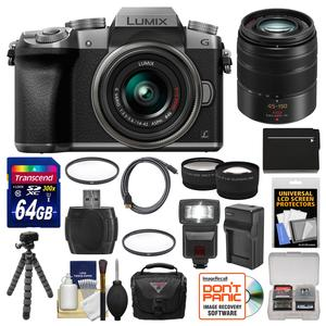 Panasonic Lumix DMC-G7 4K Wi-Fi Digital Camera and 14-42mm Lens-Silver-with 45-150mm Lens and 64GB Card and Case and Flash and Battery and Charger and Tripod and 2 Lens Kit