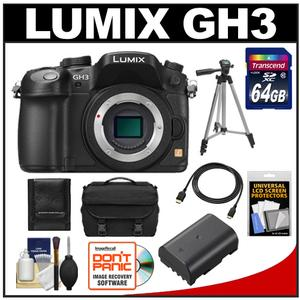 Panasonic Lumix DMC-GH3 Micro Four Thirds Digital Camera Body (Black) with 64GB Card + Battery + Case + Tripod + HDMI Cable + Accessory Kit