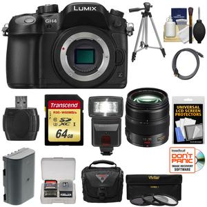 Panasonic Lumix DMC-GH4 4K Micro Four Thirds Digital Camera Body with 12-35mm f-2.8 Lens and 64GB Card and Battery and Case and Tripod and Flash and Filters Kit