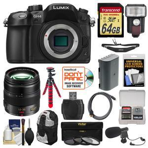 Panasonic Lumix DMC-GH4 4K Micro Four Thirds Digital Camera Body with 12-35mm f-2.8 Lens and 64GB Card and Backpack and Flash and Battery and Tripod and Microphone Kit