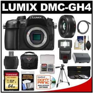 Panasonic Lumix DMC-GH4 4K Micro Four Thirds Digital Camera Body with 20mm f-1.7 II Lens and 64GB Card and Battery and Case and Tripod and Flash and Filters Kit