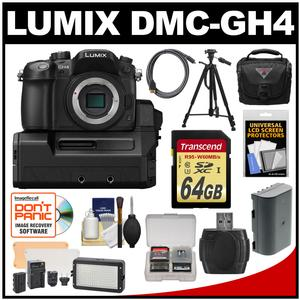 Panasonic Lumix DMC-GH4 4K Micro Four Thirds Digital Camera Body with DMW-YAGH A/V Unit with 64GB Card + Battery + Case + Tripod + LED Video Light + Kit