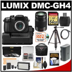 Panasonic Lumix DMC-GH4 4K Micro Four Thirds Digital Camera Body with DMW-YAGH A/V Unit with 35-100mm Lens + 64GB Card + Battery + Case + Tripod + LED Video Light + Filters + Kit