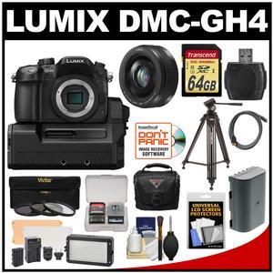 Panasonic Lumix DMC-GH4 4K Micro Four Thirds Digital Camera Body with DMW-YAGH A/V Unit with 20mm f/1.7 Lens + 64GB Card + Battery + Case + Tripod + Video Light + Filters + Kit