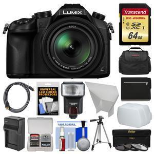 Panasonic Lumix DMC-FZ1000 4K QFHD Wi-Fi Digital Camera with 64GB Card + Case + Flash + Battery/Charger + Tripod + Filters Kit