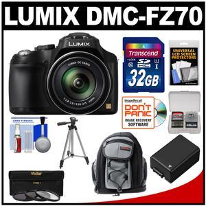 Panasonic Lumix DMC-FZ70 Digital Camera (Black) with 32GB Card + Battery + Backpack + 3 UV/ND8/CPL Filters + Tripod + Accessory Kit