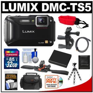 Panasonic Lumix DMC-TS5 Shock & Waterproof Wi-Fi GPS Digital Camera (Black) with 32GB Card + Helmet & Handlebar Mounts + Battery + Case + Flex Tripod + Accessory Kit
