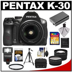 Pentax K-30 Weather Sealed Digital SLR Camera with AL WR 18-55mm Lens (Black) with 32GB Card + Case + Battery + Flash + Tripod + Filter + Telephoto/ Wide-Angle