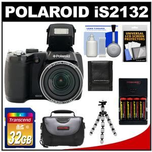 Polaroid iS2132 16MP 21x Zoom Digital Still Camera (Black) with 32GB Card + Case + Batteries & Charger + Flex Tripod + Accessory Kit