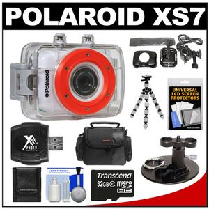 Polaroid XS7 Waterproof Hi-Def HD Sports Camcorder + Helmet Bike + Surfboard Mount + 32GB Card + Case + Flex Tripod + Acc Kit at Sears.com