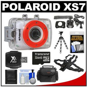 Polaroid XS7 Waterproof Hi-Def HD Sports Video Camera Camcorder + Helmet Bike + Chest Mount + 32GB Card + Case + Flex Tripod + Acc Kit at Sears.com
