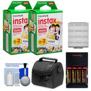 Essentials Bundle Compatible with Polaroid PIC300 Series Instant Film Analog Cameras with 40 Instant Film Prints and AA Batteries and Charger and Case and Kit