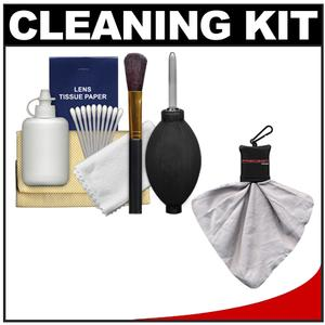 Precision Design 6-Piece Camera and Lens Cleaning Kit with Blower Brush Fluid Cloth Tissues and Tips and Spudz Cloth