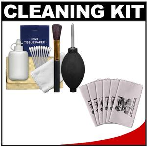 Precision Design 6-Piece Camera and Lens Cleaning Kit with Blower Brush Fluid Cloth Tissues and Tips and 6 Microfiber Cleaning Cloths
