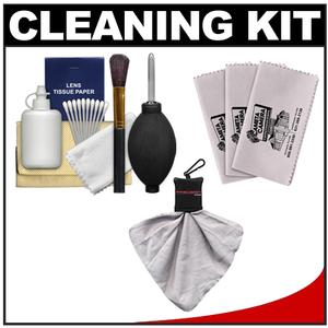 Precision Design 6-Piece Camera & Lens Cleaning Kit with Blower  Brush  Fluid  Cloth  Tissues & Tips + 3 Microfiber Cleaning Cloths